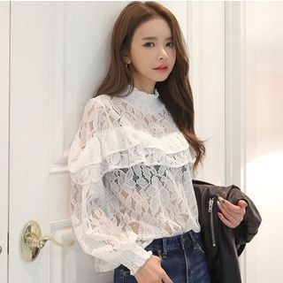 Long-Sleeve Lace Top 1058367742
