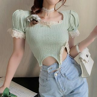 Image of Balloon-Sleeve Lace Trim Cropped Blouse