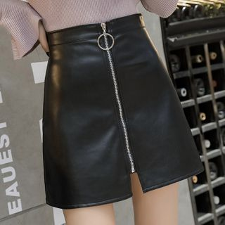 Image of Faux Leather Zip A-Line Skirt