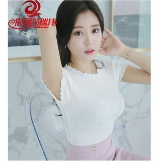Frilled Knit Short-Sleeve T-Shirt 1059997447