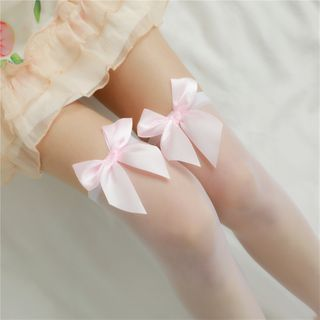 Image of Bow Accent Over-The-Knee Sheer Socks