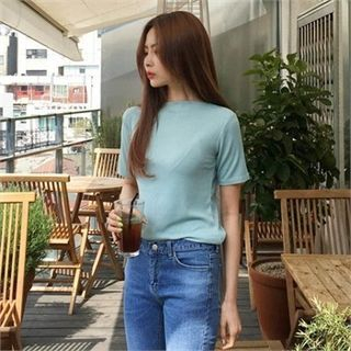 Boat-Neck Ribbed T-Shirt 1059710295