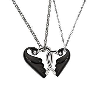 (Free USB Heart Keychain) Black Lovebird In Heart Shaped With Crystal Necklace (Couple set) Ip Black - Two Sizes