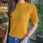 Ribbed Short-Sleeve Top 1596