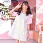 Short-Sleeve Heart Print Mini Dress 1596