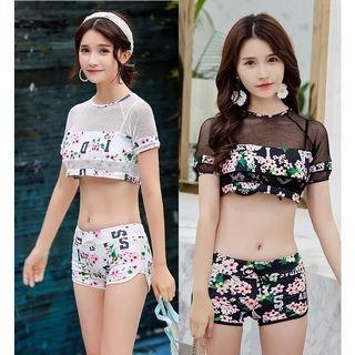 Set: Printed Bikini Top + Swim Shorts + Cover-Up 1064698575