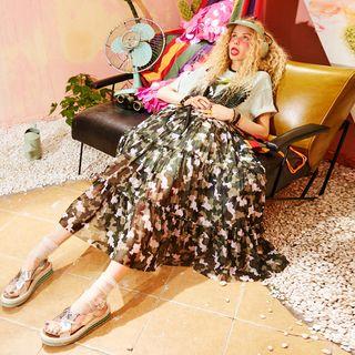 ELF SACK Short-Sleeve Camouflage Printed Dress
