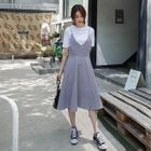 Check Midi Pinafore Dress 1596