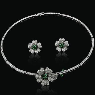 Image of Set: Rhinestone Flower Necklace + Earring
