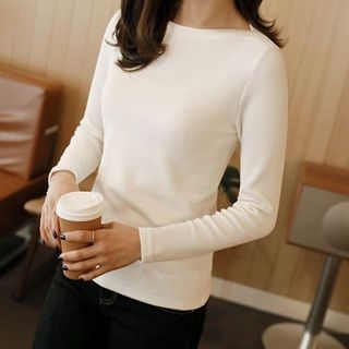 Boat-Neck Slim-Fit Ribbed Top 1062854193