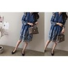 Frilled-Trim Embroidered Denim Dress 1596