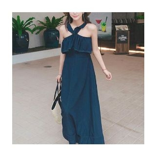 Halter-Neck Frilled Maxi Dress 1060070696