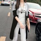 Color-Block Long Cardigan 1596