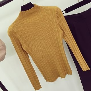 Mock Neck Rib Knit Top 1057643186