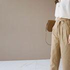 Cotton Wide-Leg Pants with Sash 1596