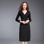 Long-Sleeve V-Neck Lace-Up Dress 1596