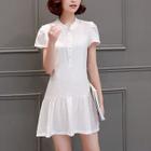 Short-Sleeve Buttoned Ruffle Dress 1596