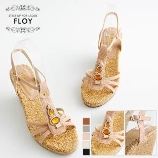 Buy FLOY SHOES Rhinestone T-Strap Wedge Sandals 1023053850