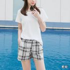Check Pleated Shorts 1596