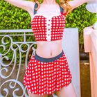 Set: Gingham Tankini Top + Swim Skirt 1596