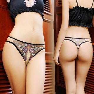 Embroidered Crotchless Panties 1054391380