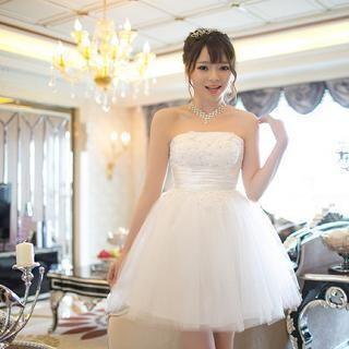 Strapless Rhinestone A-Line Bridesmaid Dress