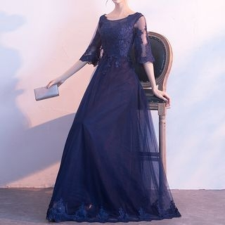 Elbow-Sleeve Lace Panel Evening Gown 1062802939