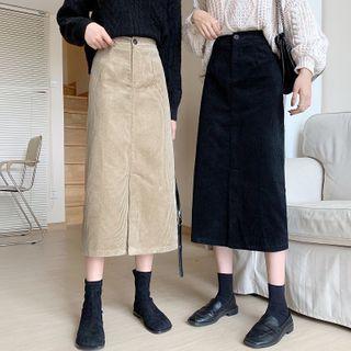 Front-slit Midi A-line Skirt