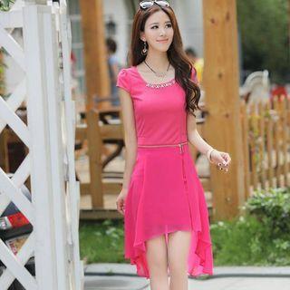 Chain Inset Chiffon Dress 1050027122
