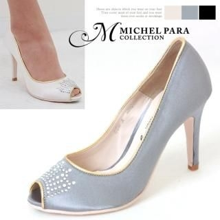 Picture of MICHEL PARA COLLECTION Rhinestone Detail Peep Toe Pumps 1022366015 (Pump Shoes, MICHEL PARA COLLECTION Shoes, Korea Shoes, Womens Shoes, Womens Pump Shoes)