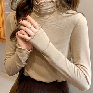 Mock-neck Ruffle Trim Long-sleeve T-shirt