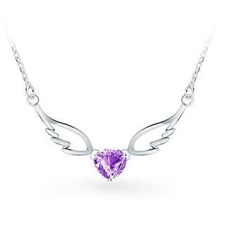 925 Sterling Silver Angel Wings Pendant with Purple Cubic Zircon Necklace