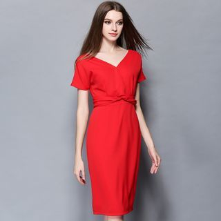 V-neck Short-Sleeve Dress 1050987043