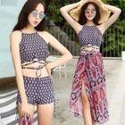 Set: Patterned Tankini + Printed Beach Maxi Skirt 1596