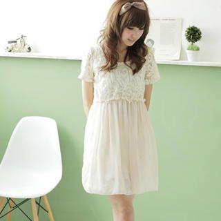Buy MYHEART Lace Bodice Chiffon Dress 1022467636
