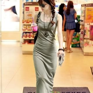 Buy REDOPIN Lace-Up Back Maxi Tank Dress 1022988639
