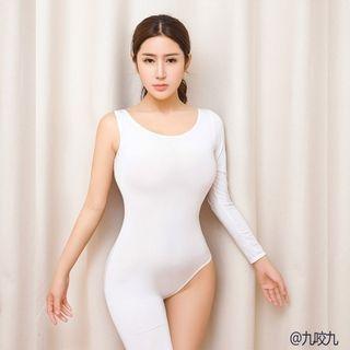 Semi-Sheer Asymmetric Bodysuit