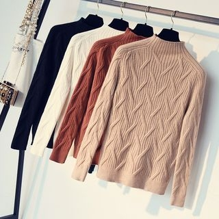 Ribbed Mock-Neck Long-Sleeve Knit Top 1063080645