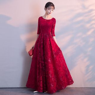 Image of Embroidered Elbow-Sleeve A-Line Cocktail Dress / Evening Gown