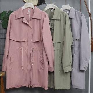 Image of Drawstring Waist Plain Zip Trench Coat