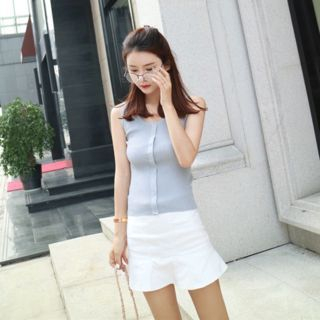 Buttoned Ribbed Knit Tank Top 1051115680