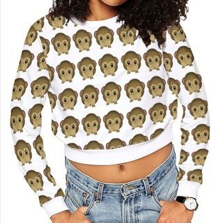 Monkey Printed Cropped Long-Sleeve T-shirt