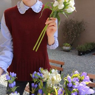 Sleeveless Wool Blend Knit Top 1062333043