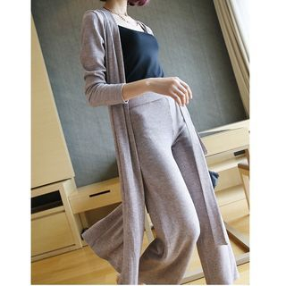 Set: Plain Ribbed Long Cardigan + Wide Leg Pants 1054105881