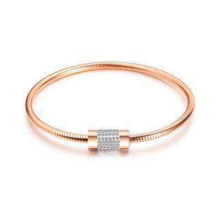 Fashion And Simple Plated Rose Gold Geometric Cylindrical Cubic Zirconia Titanium Titanium Bangle Rose Gold - One Size