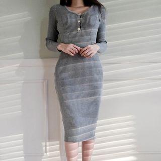 V-Neck Rib Knit Dress 1063082756