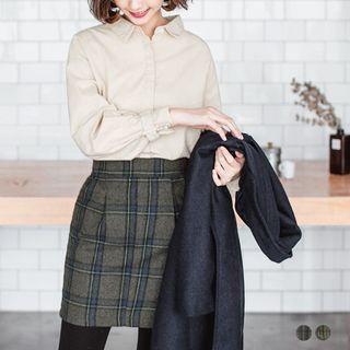 Wool-Tweed Plaid Pleated Mini Skirt 1053065503