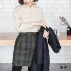 Wool-Tweed Plaid Pleated Mini Skirt 1596