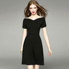 Off-Shoulder Short-Sleeve A-Line Plain Sheath Dress 1596