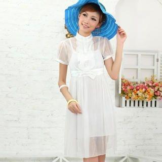 Buy doremi Bow-Accent Chiffon Dress with Slipdress White – One Size 1022868183